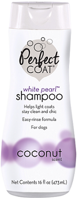 8 in1 Шампунь-кондиционер для собак светлых окрасов PC White Pearl (Белый жемчуг) аромат кокоса, 473 мл