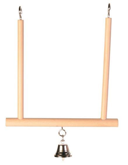 Трикси Деревянные качели с колокольчиком для птиц, 12*13 см, Trixie