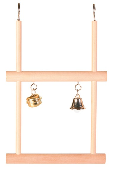 Трикси Двойные деревянные качели с колокольчиками для мелких птиц, 12*20 см, Trixie
