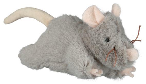 Трикси Игрушка для кошек Мышь с микрочипом 15 см, плюш, Trixie