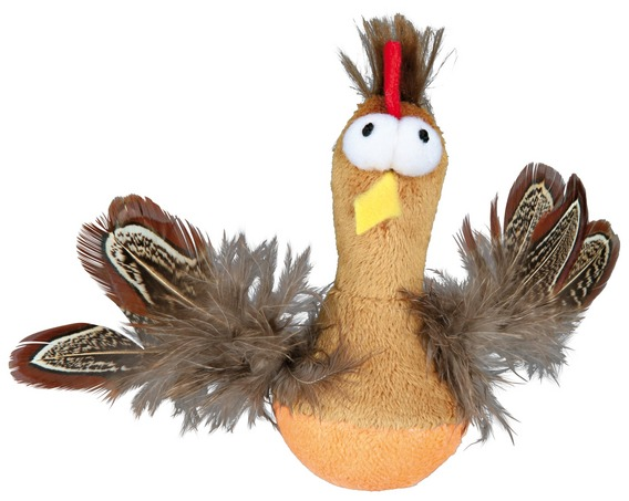 Трикси Игрушка для кошек Курица с микрочипом, 10 см, плюш/перья, Trixie