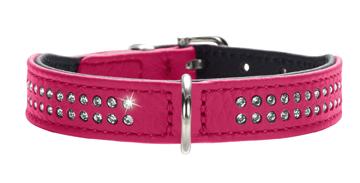 Хантер Ошейник для собак Diamond (Даймонд), розовый, кожа лося, обхват шеи 20-24 см, ширина 1,6 см, Hunter