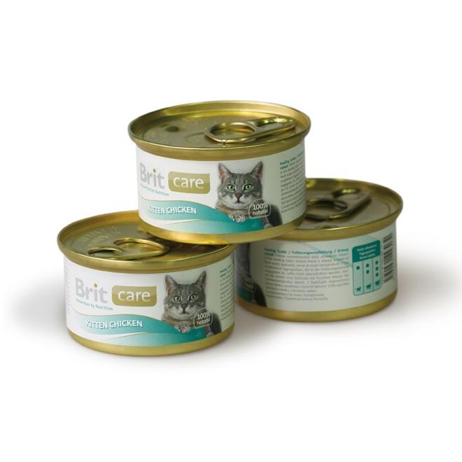 Брит Консервы супер премиум класса Care Kitten Chicken для котят, Цыпленок, 12*80 г, Brit