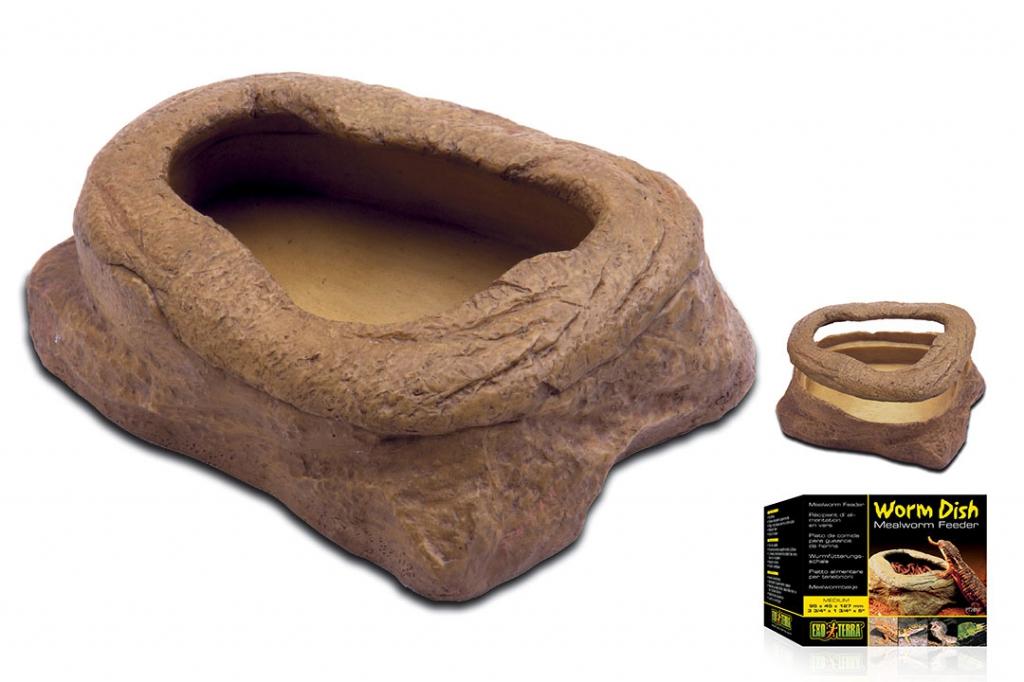 Экзо Терра Кормушка-камень для подвижного корма Worm Dish, 9,5*4,5*12,7 см, Exo Terra