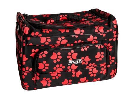 Вол Сумка для грумера Paw Print bag, 39*25*27 см, черная с красными лапками, Wahl