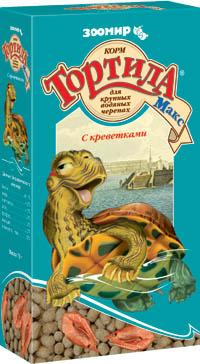 Зоомир Корм с креветками Тортила Макс для крупных водяных/водных черепах, 70 г