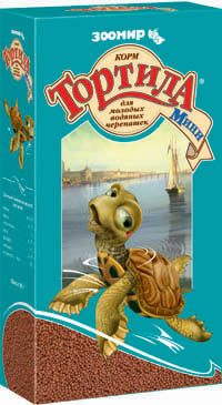 Зоомир Корм гранулированный Тортила Мини для молодых водяных черепашек, земноводных, ящериц, 90 г