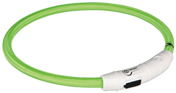Трикси Светящийся нейлоновый ошейник с USB зарядкой для собак, размер XS-S, длина 35 см, толщина 7 мм, в ассортименте, Trixie