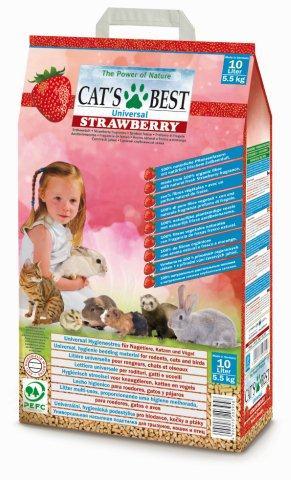 Кетс Бест Наполнитель древесный впитывающий ароматизированный Cat's Best Universal Strawberry, 10 л, Cat's Best