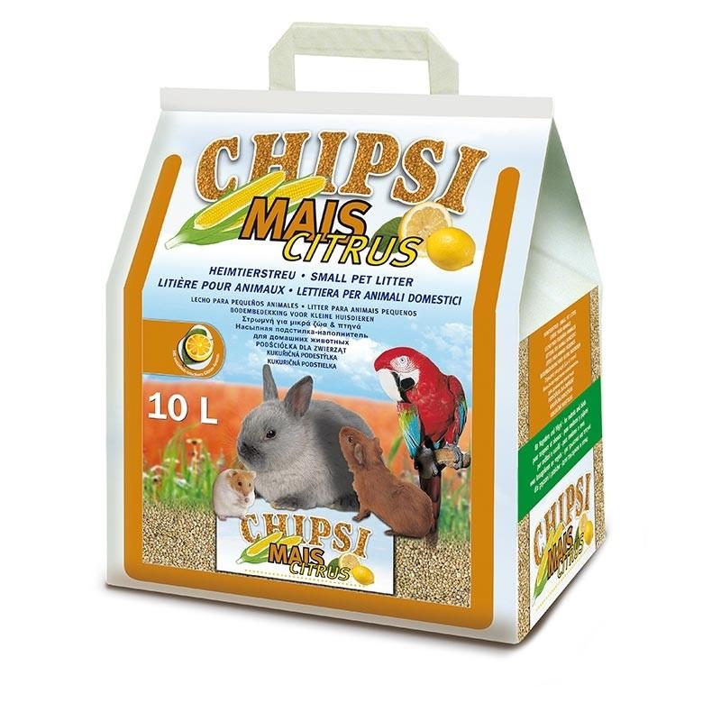 Кетс Бест Кукурузный наполнитель Chipsi Mais Citrus для всех видов грызунов, хорьков, птиц, кошек, аромат лимона, 10 л, Cat's Best