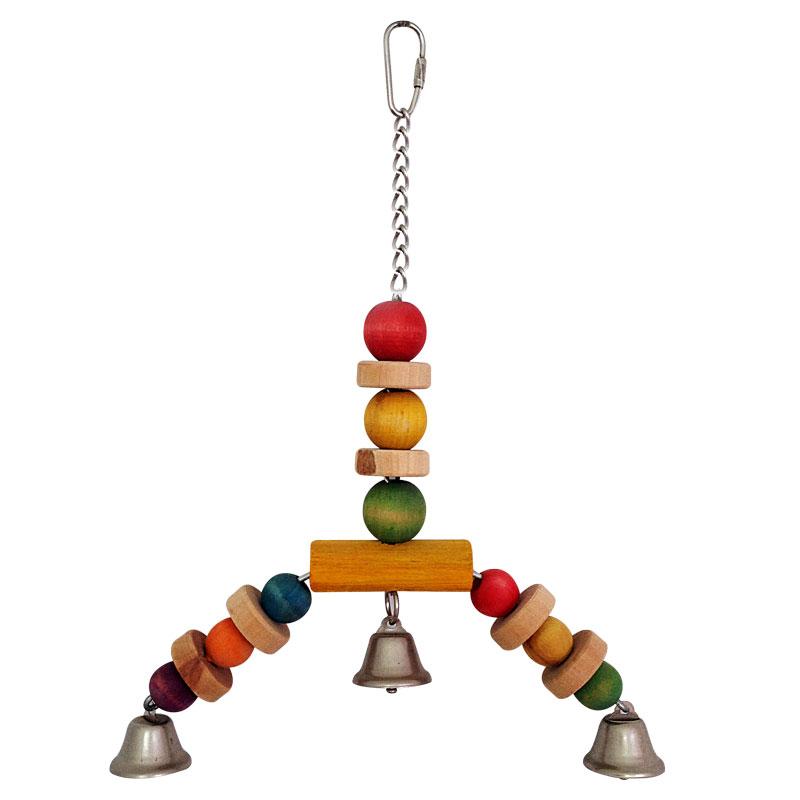 """Триол Игрушка для птиц """"Подвеска-бусинки"""", 30 см, дерево, металл, Triol"""