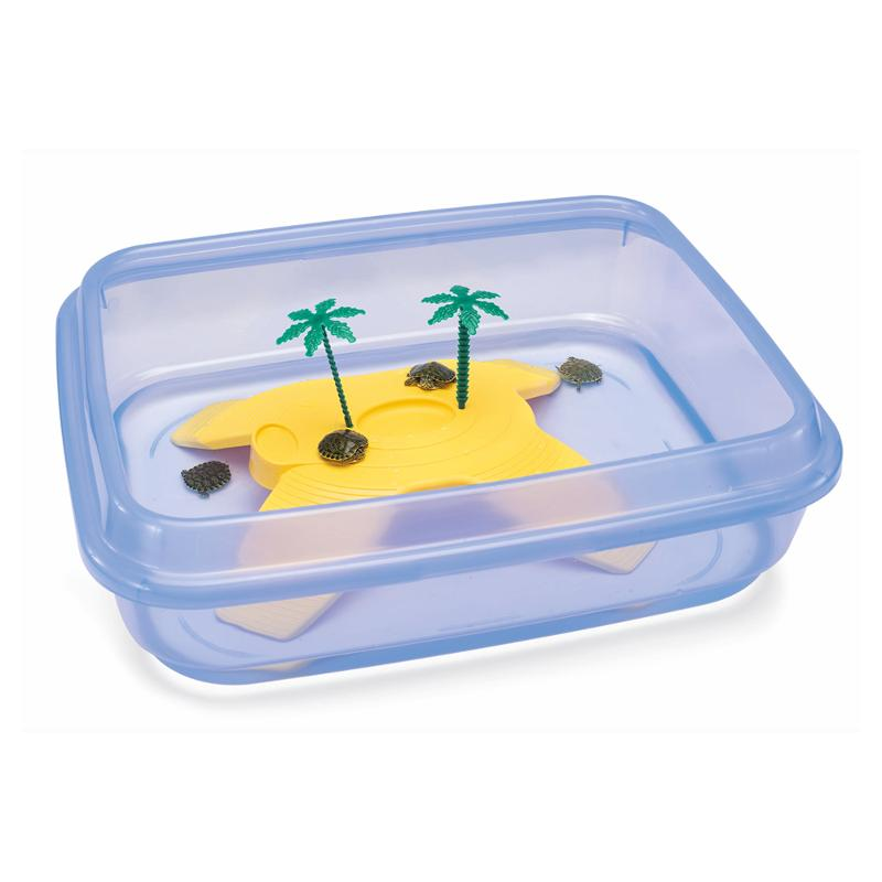Имак Бассейн Ninja открытый для черепах, с островом, 50*40*14,5 см, синий, Imac