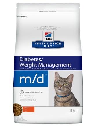 Корм Хиллс Prescription Diet Feline m/d для поддержания здоровья кошек с сахарным диабетом и/или избыточным весом, 1,5 кг, Hills