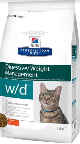 Корм Хиллс Prescription Diet w/d Digestive/Weight Management сухой для кошек склонных к набору веса и кошек с диабетом, в ассортименте, Hills