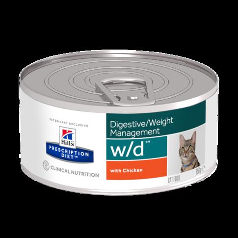 Консервы Хиллс Prescription Diet Feline w/d для кошек при склонности к ожирению, Minced with Chicken, 156 г, Hills