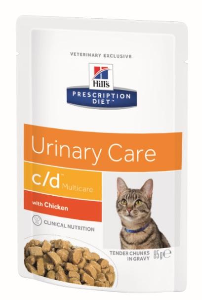 Паучи Хиллс Prescription Diet с/d Feline для кошек при заболеваниях мочевыводящей системы, 12*85 г, 2 варианта, Hills