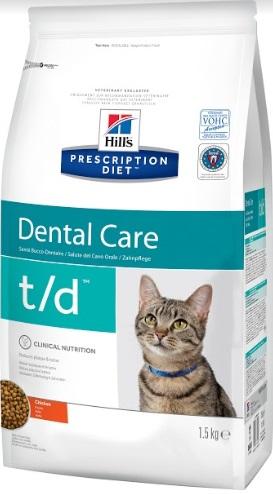 Корм Хиллс Prescription Feline t/d Dental Care сухой для кошек для поддержания здоровья полости рта, Курица, 1,5 кг, Hills
