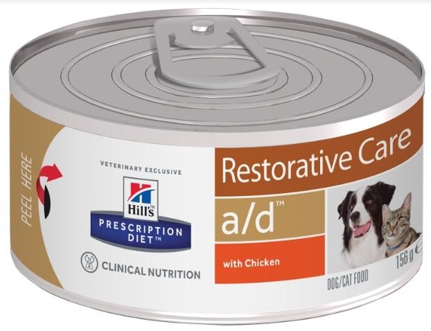 Консервы Хиллс Prescription Canine/Feline a/d для кошек и собак для восстановления после заболеваний и операций и потере аппетита, 156 г, Hills