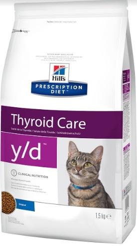 Корм Хиллс Prescription Diet y/d Thyroid Care сухой для кошек для восстановления физиологической функции щитовидной железы, 1,5 кг, Hills
