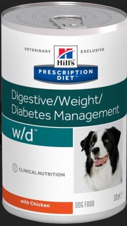 Консервы Хиллс Prescription Diet w/d  Digestive/Weight/Diabetes Management для собак склонных к набору веса и собак с диабетом, 370 г, Hills