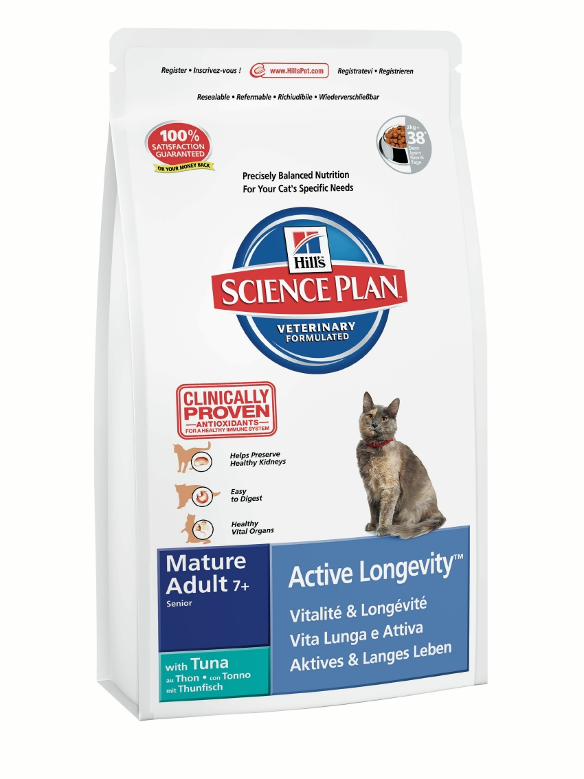Корм Хиллс Science Plan Feline Mature Adult 7+ Active Longevity Tuna сухой для пожилых кошек, Тунец, 2 кг, Hills