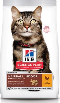 Корм Хиллс Science Plan Feline Mature Adult 7+ Hairball Control Chicken сухой для кошек старше 7 лет, Вывод шерсти, Курица, 1,5 кг, Hills