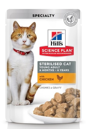 Паучи Хиллс Science Plan для стерилизованных/кастрированных кошек возрастом до 6 лет, Sterilised Cat Young Adult, в ассортименте, 12*85 г, Hills