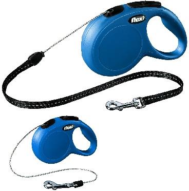 Флекси Рулетка NEW Classic, трос, синяя, 5 вариантов, Flexi