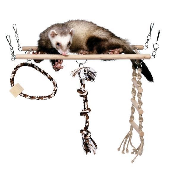Трикси Мостик-лесенка подвесной деревянный для хорьков, крупных и средних грызунов, 35*15 см, Trixie