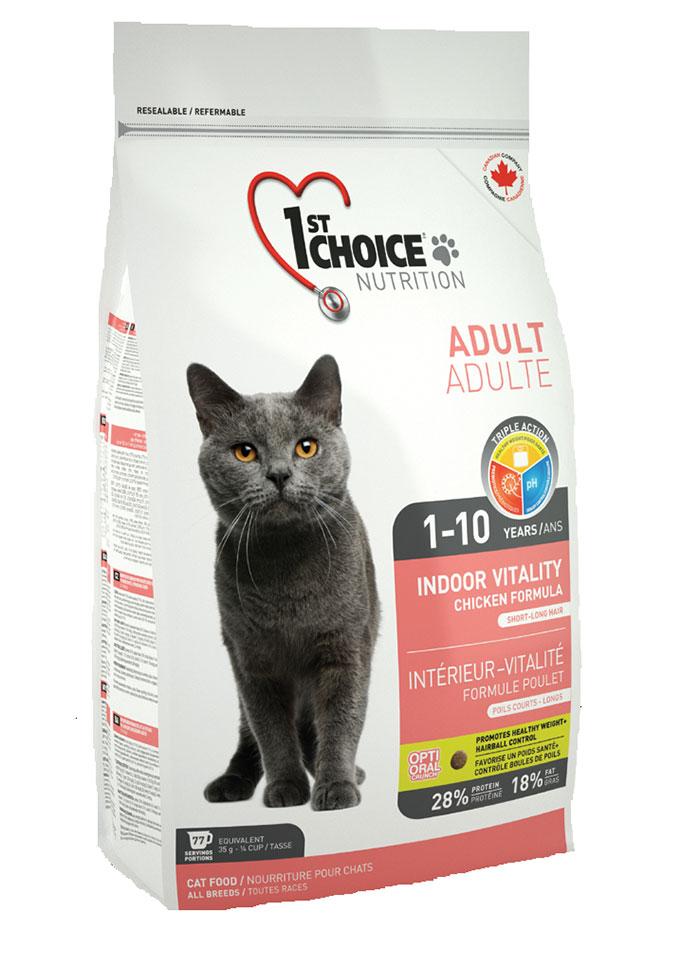 Корм Фест Чойс сухой для взрослых домашних кошек, Indoor Vitality, Цыпленок, в ассортименте, 1st Choice