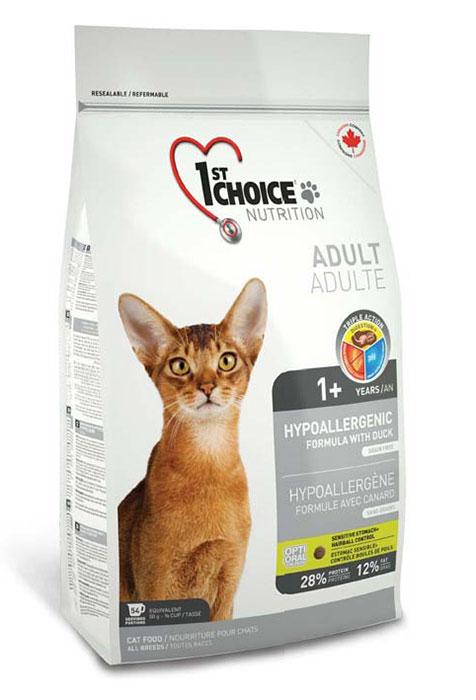 Корм Фест Чойс сухой для взрослых кошек склонных к аллергии, Cat Adult Hypoallergenic, утка с картофелем, 3 весовки, 1st Choice