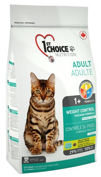 Корм Фест Чойс сухой для стерилизованных/кастрированных и склонных к полноте кошек и котов, Weight Control end Neutered-Spayed Cats, Курица, 3 весовки, 1st Choice