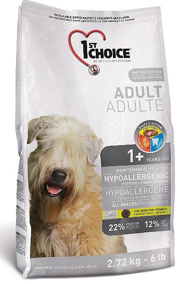 Корм Фест Чойс сухой для взрослых собак с чувствительным желудком и склонностью к аллергии, Adult Dogs All Breeds – Hypoallergenic, утка с картофелем, 3 весовки, 1st Choice