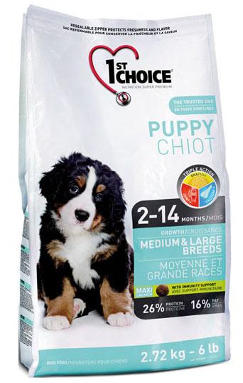 Корм Фест Чойс для щенков средних и крупных пород Puppy Medium/Large Breeds Курица, в ассортименте, 1st Choice