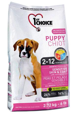 Корм Фест Чойс сухой для щенков всех пород с чувствительной кожей и шерстью, Puppy Sensitive Skin end Coat, Ягненок с рыбой, 3 весовки, 1st Choice