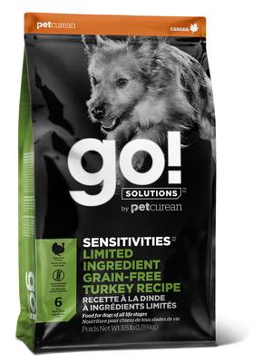 Корм Гоу сухой беззерновой для щенков и собак с чувствительным пищеварением, Индейка, Sensitivity + Shine Turkey Dog Recipe, в ассортименте, Go!