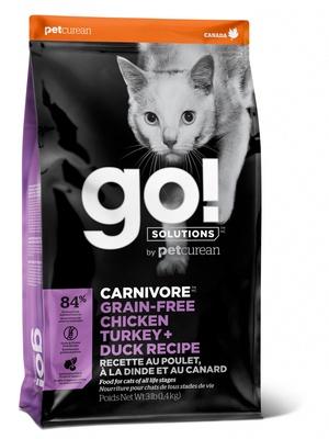 ГОУ Корм сухой беззерновой Solutions для котят и кошек, 4 вида Мяса: Курица/Индейка/Утка/Лосось, Fit + Free Grain Free Chicken, Turkey, Duck Cat Recipe, в ассортименте, Go!