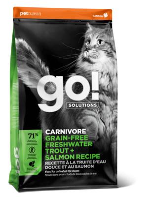 ГОУ Корм сухой беззерновой для котят и кошек с чувствительным пищеварением, Форель/Лосось, Carnivore Shine Grain Free Freshwater Trout end Salmon Cat Recipe, в ассортименте, Go!