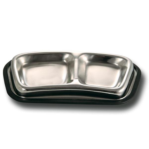 Триол Миска двойная металлическая, резиновая основа, емкости 110 и 140 мл, для кошек и маленьких собак, Triol