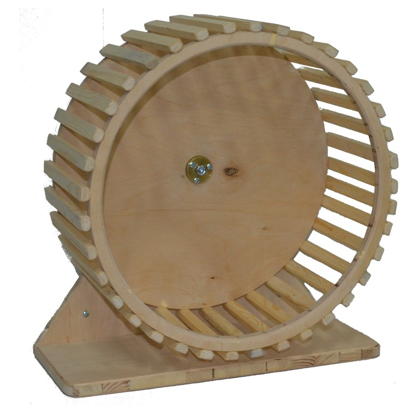 Деревянное колесо облегченное, для белок и других грызунов, можно вешать на прутья или поставить на пол, в ассортименте, Россия