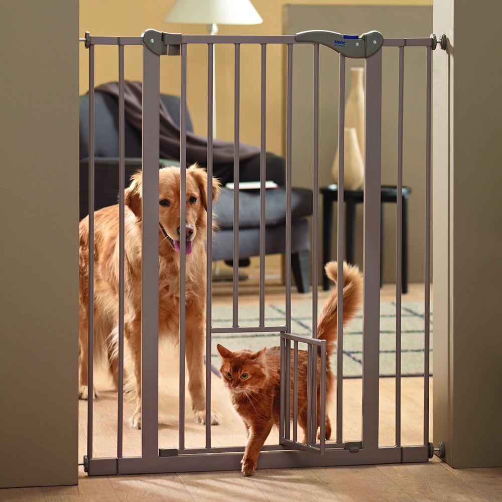 Савик Перегородка с калиткой и дополнительной дверкой Dog Barrier, ширина 75-84 см, высота 107 см, бежево-серая, Savic