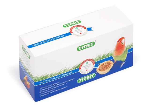 Титбит Тарталетки для попугаев с манго и злаками, 8 шт/уп., TiTBiT