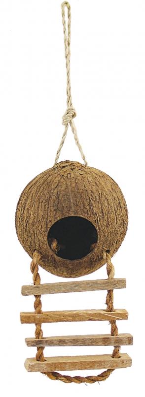 Триол Домик для птиц из натурального кокоса с лесенкой с деревянными ступеньками, 10*4,5 см, Triol