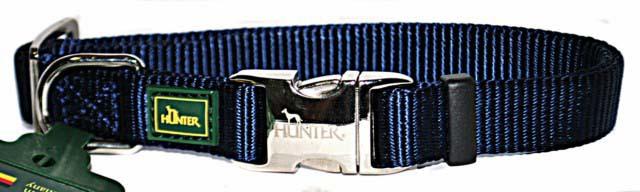 Хантер Ошейник для собак с металлической застежкой ALU-Strong темно-синий, нейлон, 2 размера, Hunter