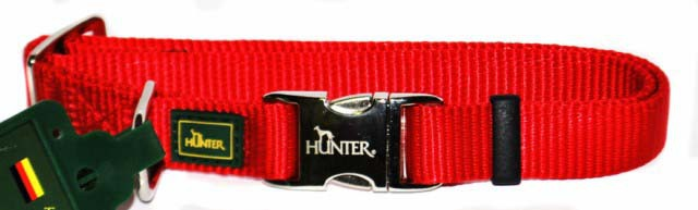 Хантер Ошейник для собак с металлической застежкой ALU-Strong красный, нейлон, 3 размера, Hunter