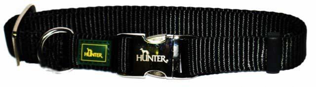 Хантер Ошейник для собак с металлической застежкой ALU-Strong черный, нейлон, 3 размера, Hunter