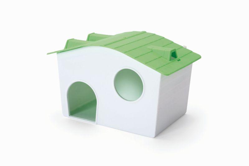 Имак Домик с дном пластиковый Casetta Criceti для мелких грызунов, 16*10*11 см, Imac