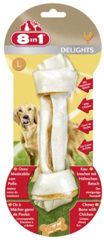 8в1 Косточка из сыромятной кожи и куриного мяса Delights Beef (Делайтс Биф) для собак, в ассортименте, 8IN1