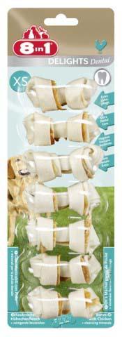 8в1 Косточка Delights Dental для чистки зубов собак, Курица, в ассортименте, 8IN1