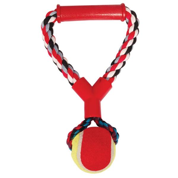 Триол Игрушка веревка цветная с ручкой и мячом, 25 см, Triol